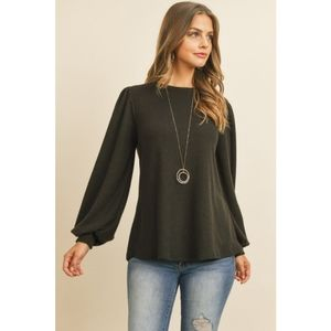 New arrival. Black long sleeve hacci top